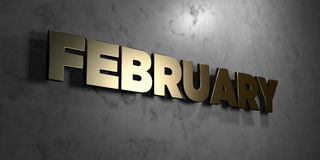February - Gold sign mounted on glossy marble wall  - 3D rendered royalty free stock illustration. This image can be used for an online website banner ad or a Stock Photography