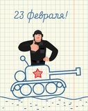 February 23. Greeting card. Hand drawing in notebook paper. Tank. Man thumbs up and winks. Russian soldier happy emoji. Military holiday in Russia. Russian text Royalty Free Stock Photo