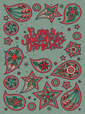 23 February greeting postcard. 23 February greeting postcard with hand drawn lettering and paisley swirls on green background with ornament. Text on russian Stock Photo
