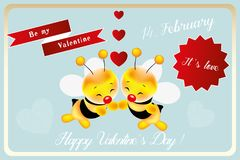 14 February Greetings with Be my valentine little bee. Be my valentine little bee - card for Valentines Day with hand drawn smiling bees, hearts and various love royalty free illustration