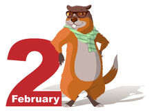 February 2 Groundhog Day. Marmot casts shadow Stock Photography