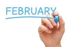 February Handwritten With Blue Marker Royalty Free Stock Photos