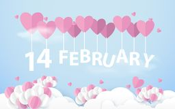 14 February hanging with Pink Heart Balloons in sky. Happy valentines day. Paper art and craft style. Illustration vector royalty free illustration