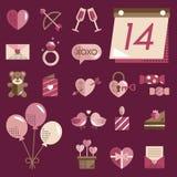 February Happy Valentine Icon Set Vector Stock Photography