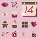 February Happy Valentine Icon Set Vector Royalty Free Stock Photos