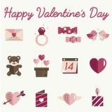 February Happy Valentine Icon Set Vector Stock Photos