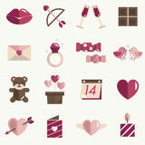 February Happy Valentine Icon Set Vector Royalty Free Stock Images