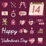 February Happy Valentine Icon Set Vector Royalty Free Stock Image