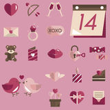 February Happy Valentine Icon Set Vector. February 14th is a valentine day Royalty Free Stock Photo