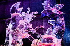February 2013 - Harbin, China - Beautiful ice statues at the Ice Lantern Festival Royalty Free Stock Image