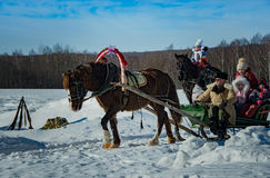 26 February 2017 the Holiday of Maslenitsa in Borodino. The annual celebration that marks the end of winter and arrival of spring. People having fun, eating royalty free stock images