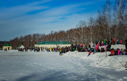 26 February 2017 the Holiday of Maslenitsa in Borodino. The annual celebration that marks the end of winter and arrival of spring. People having fun, eating royalty free stock photos