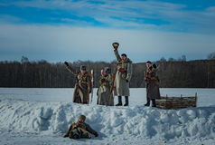 26 February 2017 the Holiday of Maslenitsa in Borodino. The annual celebration that marks the end of winter and arrival of spring. People having fun, eating royalty free stock photography