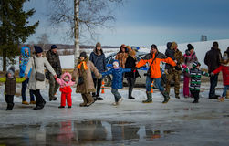 26 February 2017 the Holiday of Maslenitsa in Borodino. Stock Photography