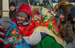 26 February 2017 the Holiday of Maslenitsa in Borodino. Royalty Free Stock Photo