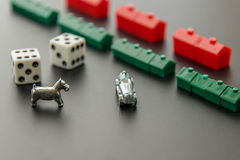 February 8, 2015: Houston, TX, USA.  Monopoly houses and hotel r Royalty Free Stock Images
