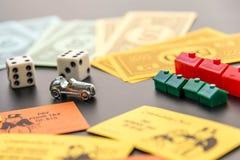 February 8, 2015: Houston, TX, USA.  Monopoly money, playing pie Stock Photo