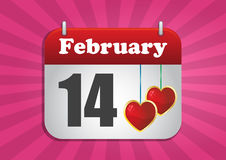 14 february. Illustration of calendar page of san valentine's day royalty free illustration