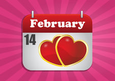 14 february. Illustration of calendar page of san valentine's day vector illustration