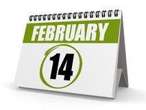 February 14. Image with hi-res rendered artwork that could be used for any graphic design Stock Illustration
