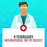 9 February. International day of dentist. Medical holiday. Vector medicine illustration. Royalty Free Stock Photo