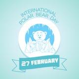 27 February  International Polar Bear Day. Calendar for each day on February 27. Greeting card. Holiday - International Polar Bear Day. Icon in the linear style Stock Photo