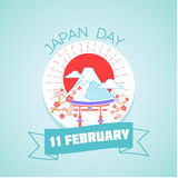 11 February Japan Day. Calendar for each day on February 11. Greeting card. Holiday - Japan Day. Icon in the linear style royalty free illustration