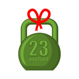 23 February Kettlebell. Gift for men. For military holiday in Ru Stock Photos