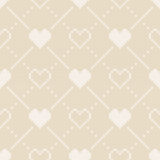 14 February Knitted Pattern with Hearts. St Valentine`s Day Seamless Vector Background Royalty Free Stock Photography