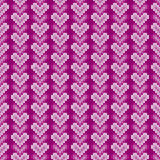 14 February Knitted Pattern with Hearts. St Valentine`s Day Seamless Vector Background Stock Images