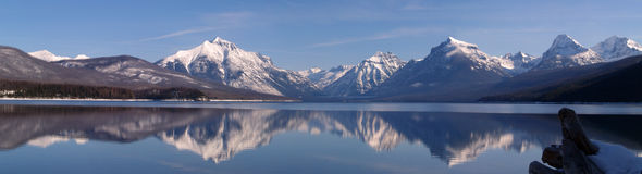February Lake McDonald Panorama Stock Photo