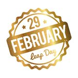 29 February Leap Day rubber stamp gold on a white background. royalty free illustration