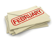 February letters (clipping path included). February letters. Image with clipping path stock illustration