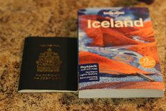 FEBRUARY 01 2018, LONDON ONTARIO CANADA: EDITORIAL ILLUSTRATIVE PHOTOGRAPH ILLUSTRATING TRAVELLING TO ICELAND WITH A. CANADIAN PASSPORT. ICELAND HAS BECOME A Stock Photos