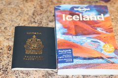 FEBRUARY 01 2018, LONDON ONTARIO CANADA: EDITORIAL ILLUSTRATIVE PHOTOGRAPH ILLUSTRATING TRAVELLING TO ICELAND WITH A. CANADIAN PASSPORT. ICELAND HAS BECOME A Royalty Free Stock Image