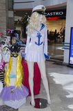 FEBRUARY 28 - Mannequin girl blonde clothing for sailors in shop - on Fabruary 20, 2015 in BEER-SHEVA,Negev, Israel Royalty Free Stock Photography