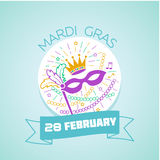 28 February mardi gras. Calendar for each day on February 28. Greeting card. Holiday - mardi gras. Icon in the linear style Royalty Free Stock Photo