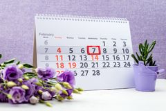 February 7 mark on the calendar. On purple background stock photos