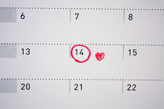 February 14 mark on the calendar. Valentine`s day February 14 mark on the calendar royalty free stock photo