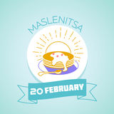 20 February  Maslenitsa. Calendar for each day on February 20. Greeting card. Holiday - Maslenitsa. Icon in the linear style Royalty Free Stock Photo