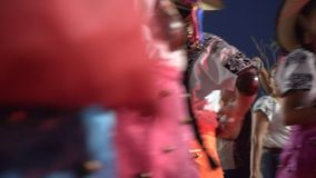 Carnival parade in colonial town Campeche. February 27, 2017 Mexico, Campeche. Carnival,parade in colonial town, close up portrait people on costume parade stock video