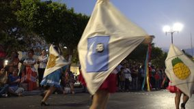 Carnival parade in colonial town Campeche. February 27, 2017 Mexico, Campeche. Carnival, parade in colonial town, people passing on street in colorful costume stock video footage