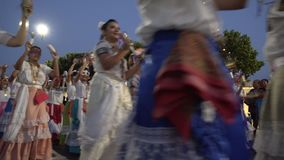 Carnival parade in colonial town Campeche. February 27, 2017 Mexico, Campeche. Carnival, parade in colonial town, people passing on street in colorful costume stock video