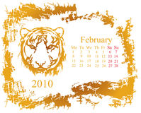 February month. February  month with tiger grunge Calendar 2010 year Stock Images