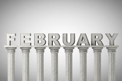 February month sign on a classic columns Stock Images