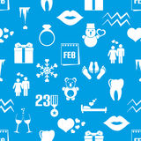 February month theme set of simple icons blue and white pattern eps10 Stock Images