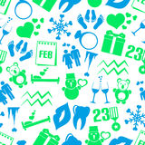 February month theme set of simple icons seamless pattern eps10 Stock Photography