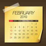 February 2019 monthly calendar vector illustration. Simple and clean design Stock Illustration