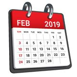 February 2019 monthly calendar vector illustration. Simple and clean design vector illustration