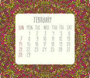 February 2016 monthly calendar. February 2016 vector monthly calendar over lacy doodle hand drawn background, week starting from Sunday Stock Photos